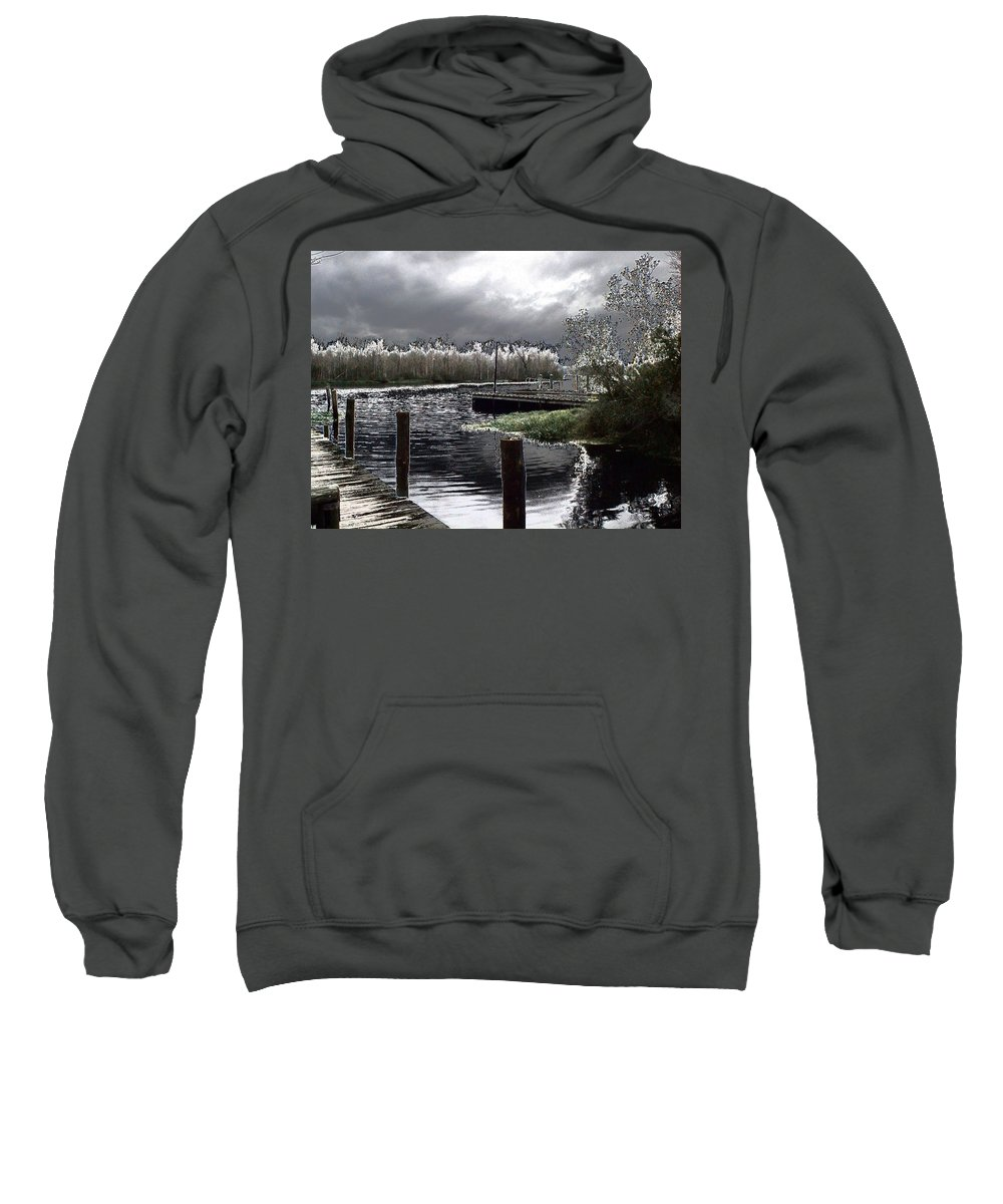 Dock Sweatshirt featuring the photograph Dock At Dusk by Charleen Treasures