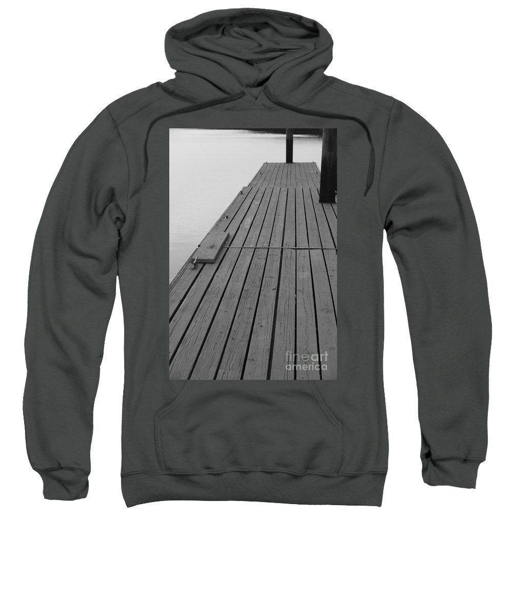 Dock Sweatshirt featuring the photograph Dock In Black And White by Nadine Rippelmeyer