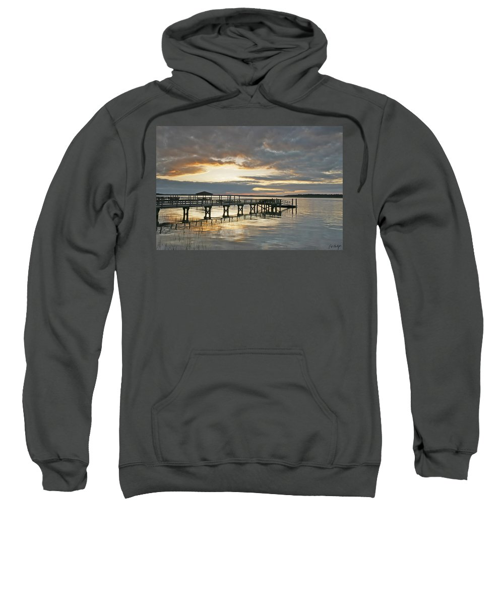Sunset Sweatshirt featuring the photograph Dock Reflections by Phill Doherty