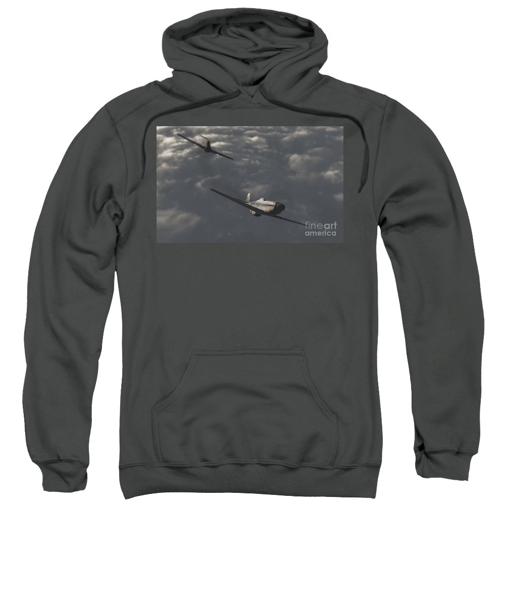 Ww2 Sweatshirt featuring the digital art Dog Fight by Richard Rizzo