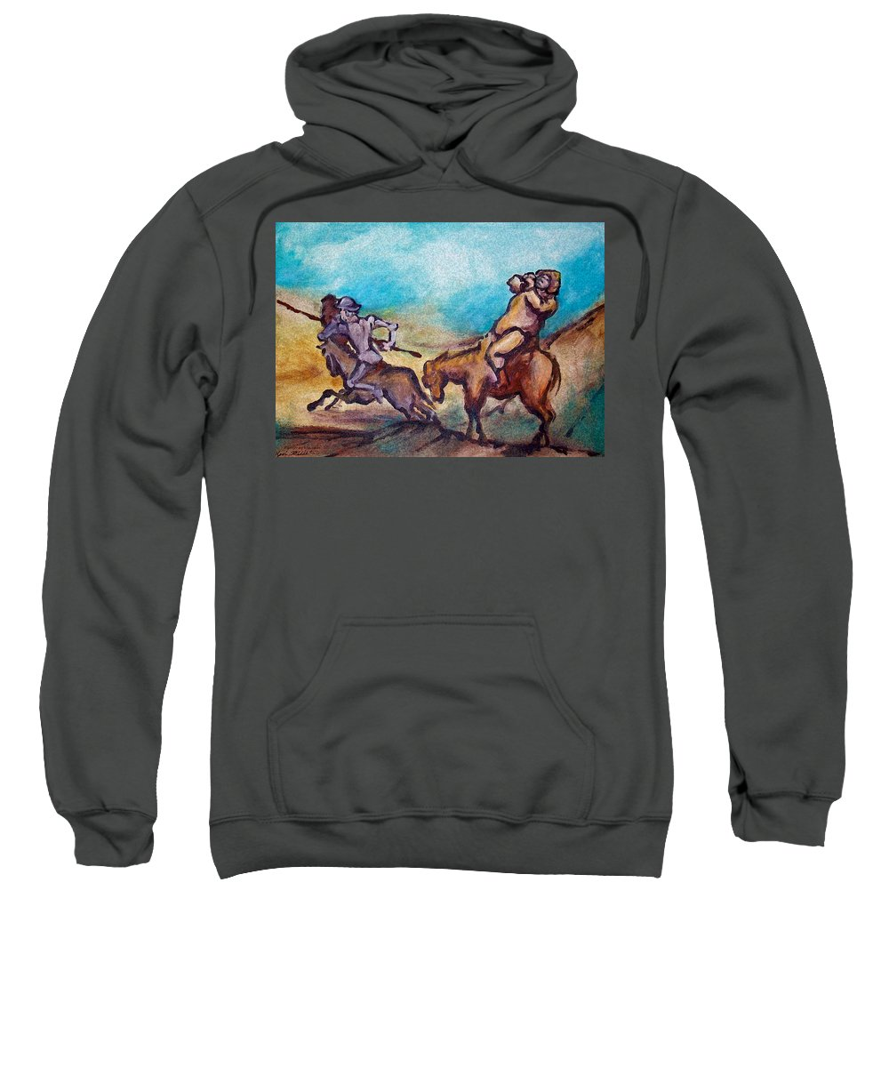 Don Quixote Sweatshirt featuring the painting Don Quixote by Kevin Middleton