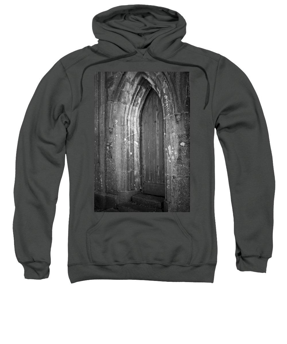 Irish Sweatshirt featuring the photograph Door At Protestant Church Macroom Ireland by Teresa Mucha
