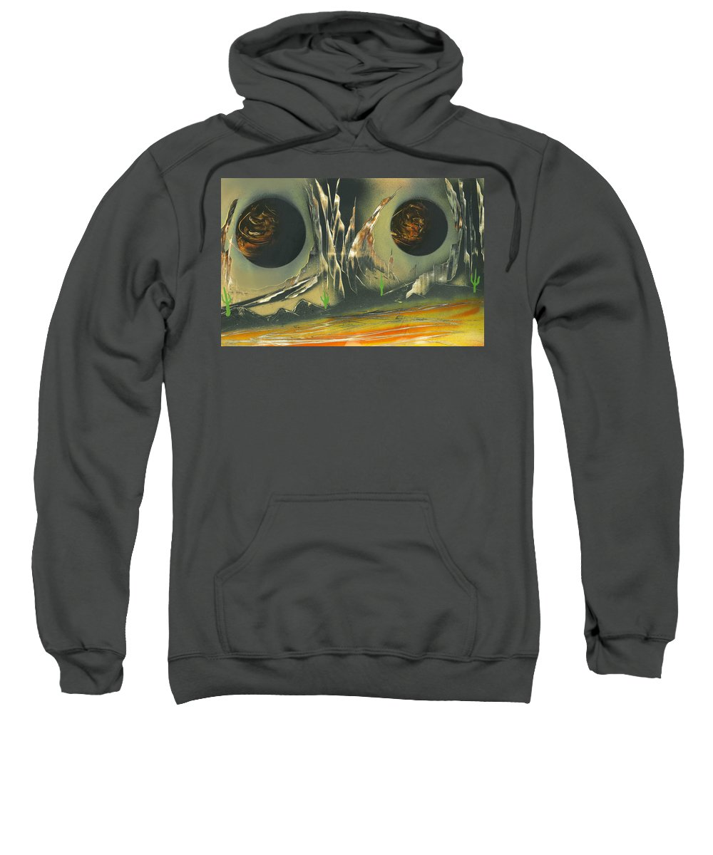 Moons Sweatshirt featuring the painting Double Moon Desert by Jason Girard
