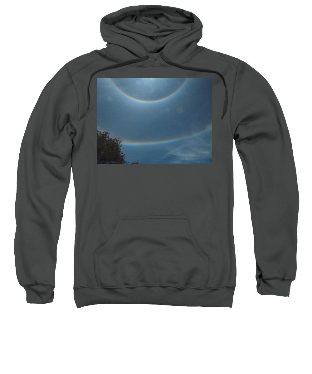 Rainbow Sweatshirt featuring the photograph Double Rainbow Rings Around The Sun by Joyce Dickens