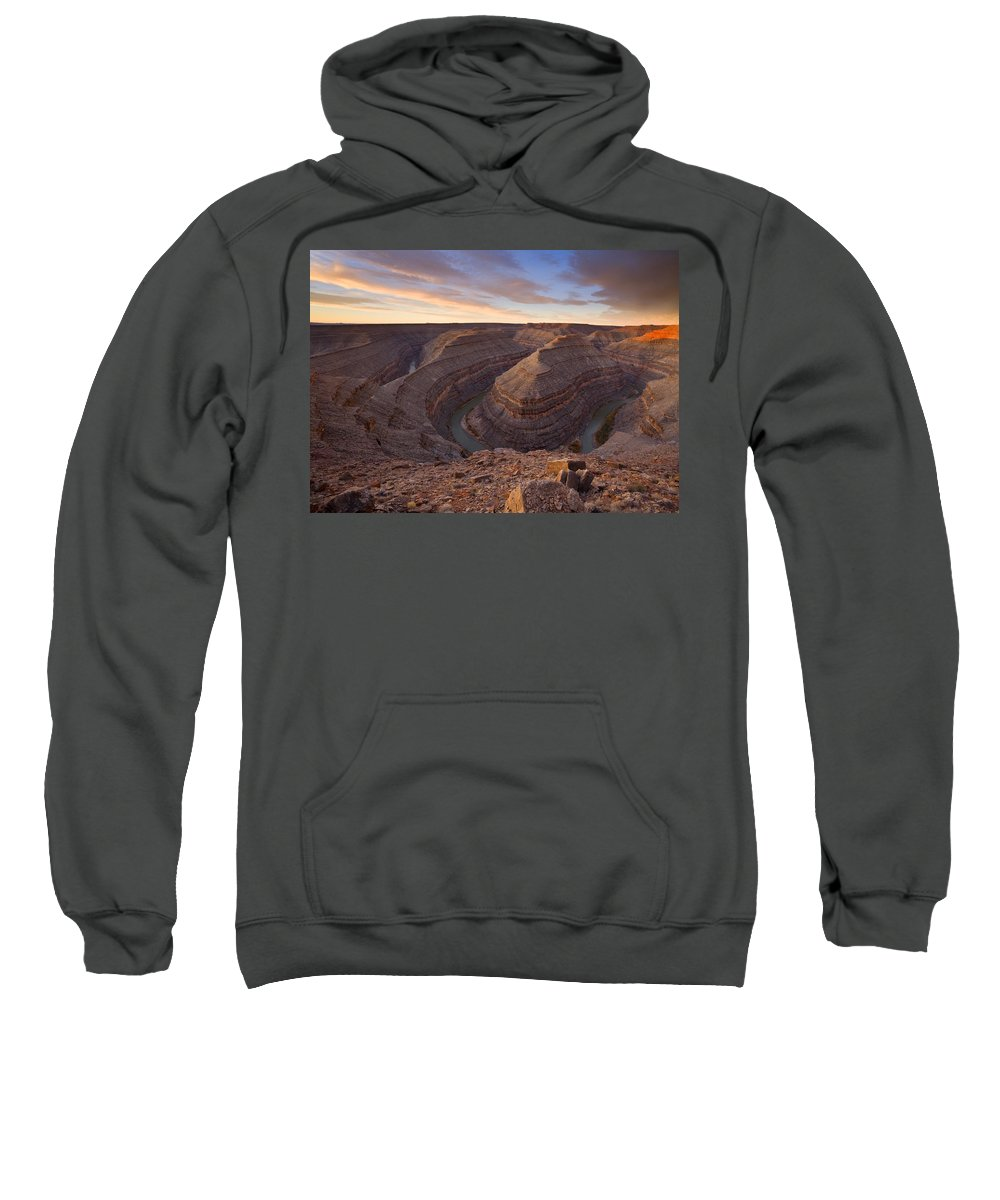 Goosenecks State Park Sweatshirt featuring the photograph Doubleback by Mike Dawson