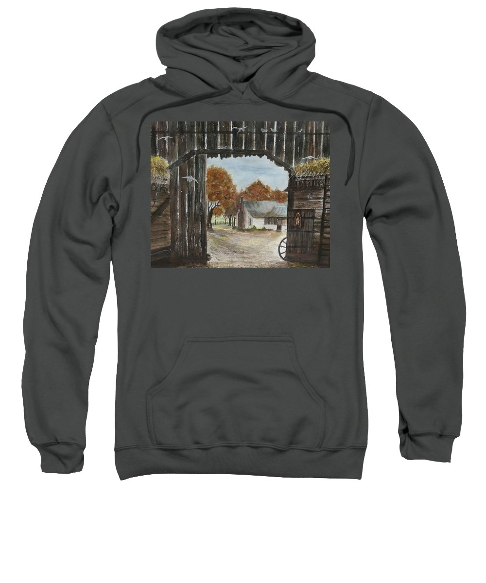 Grandpa And Grandma's Homeplace Sweatshirt featuring the painting Down Home by Ben Kiger