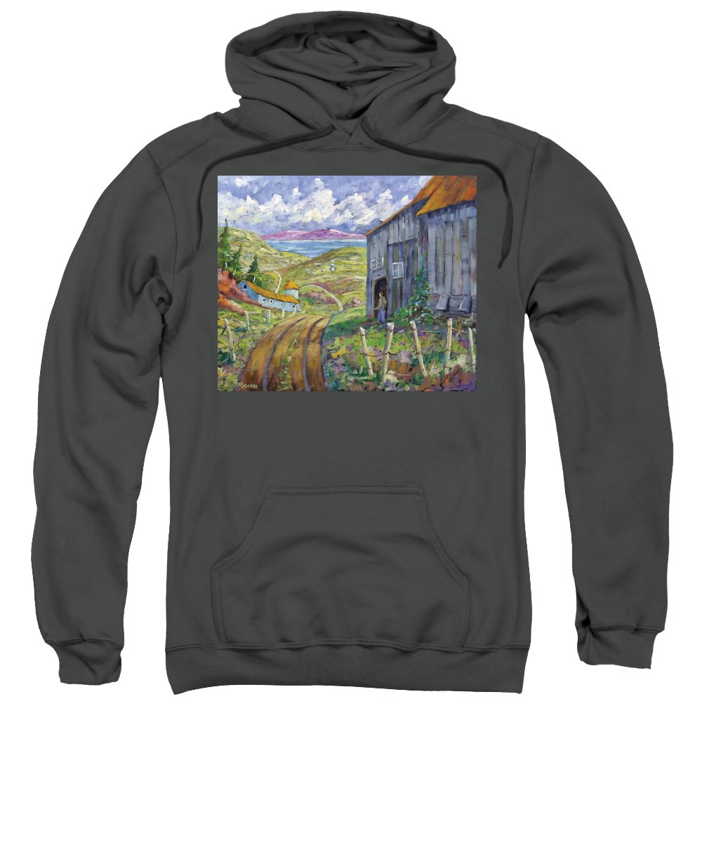 Art Sweatshirt featuring the painting Down To The Fjord by Richard T Pranke