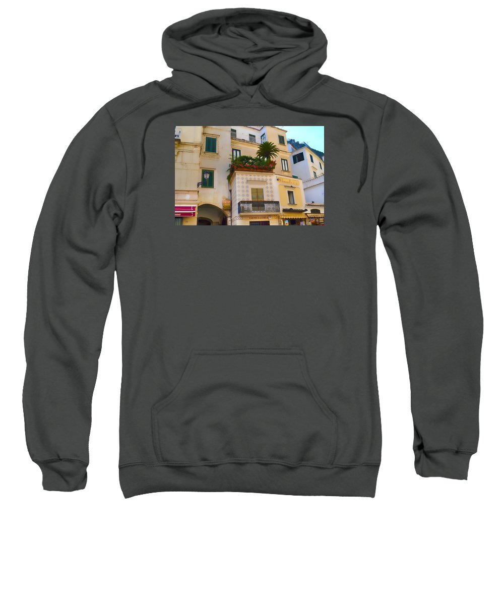 Amalfi Sweatshirt featuring the photograph Downtown Amalfi by Jeffrey Hamilton