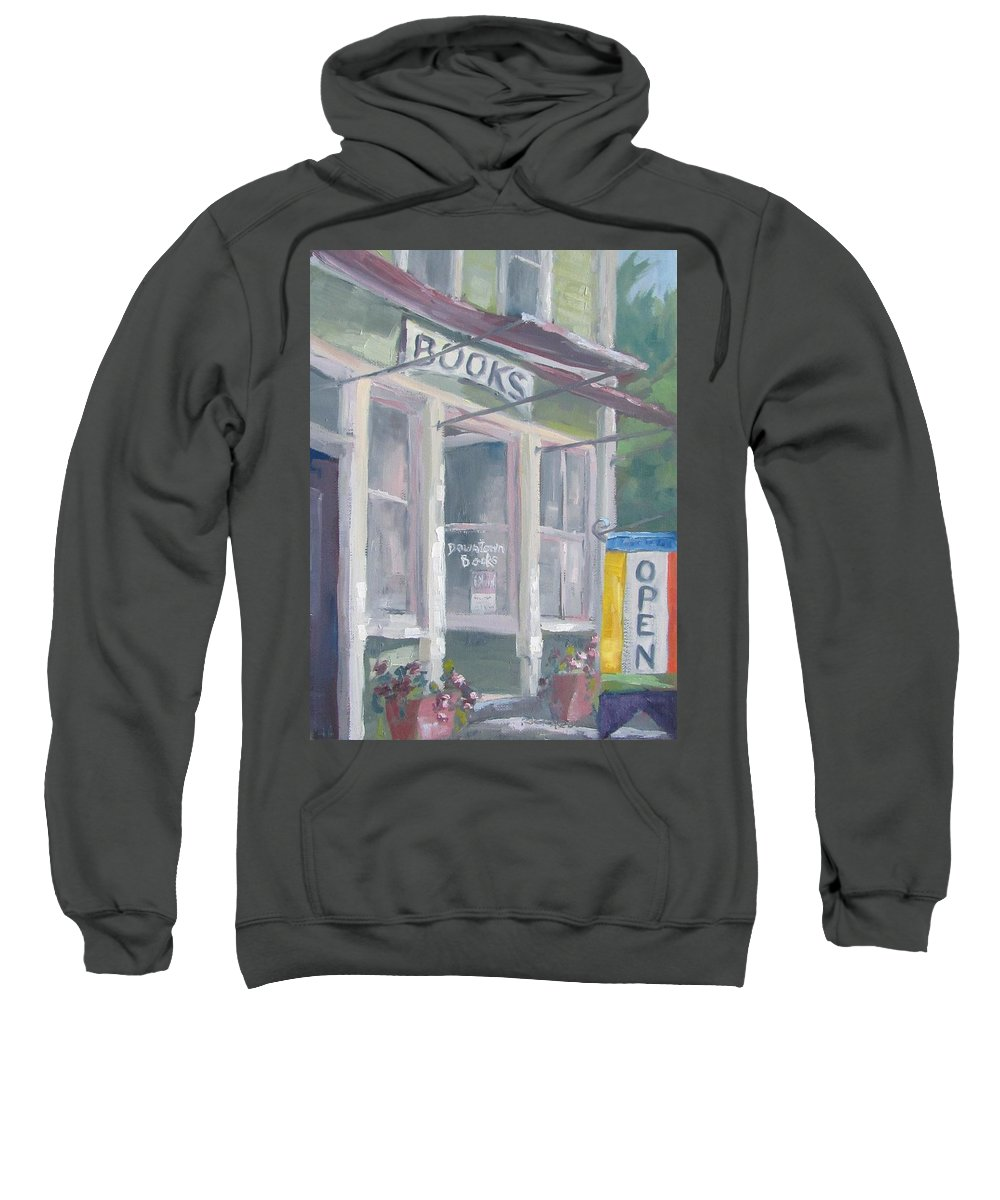 Downtown Books Sweatshirt featuring the painting Downtown Books Four by Susan Richardson