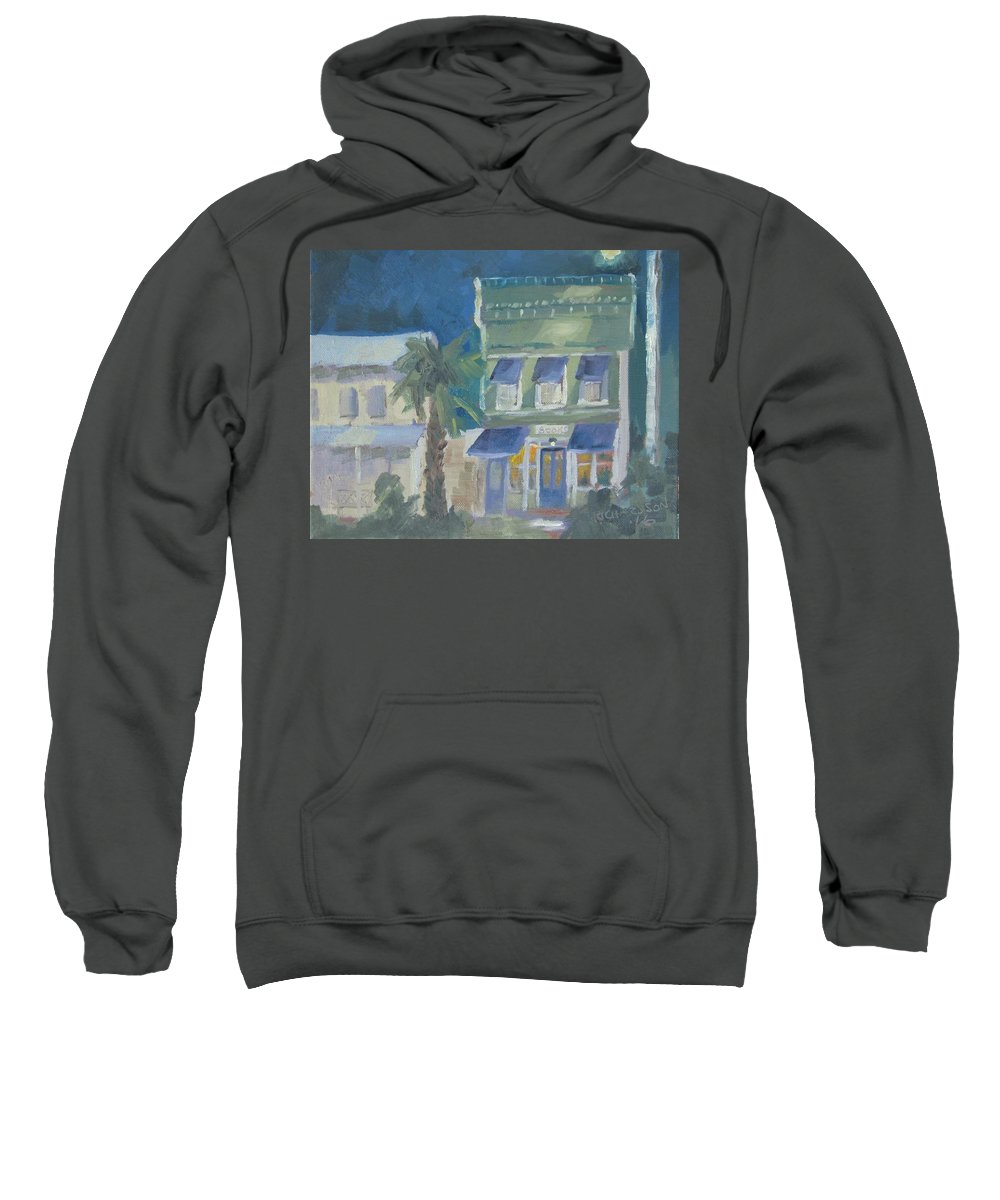 Apalachicola Sweatshirt featuring the painting Downtown Books Three by Susan Richardson
