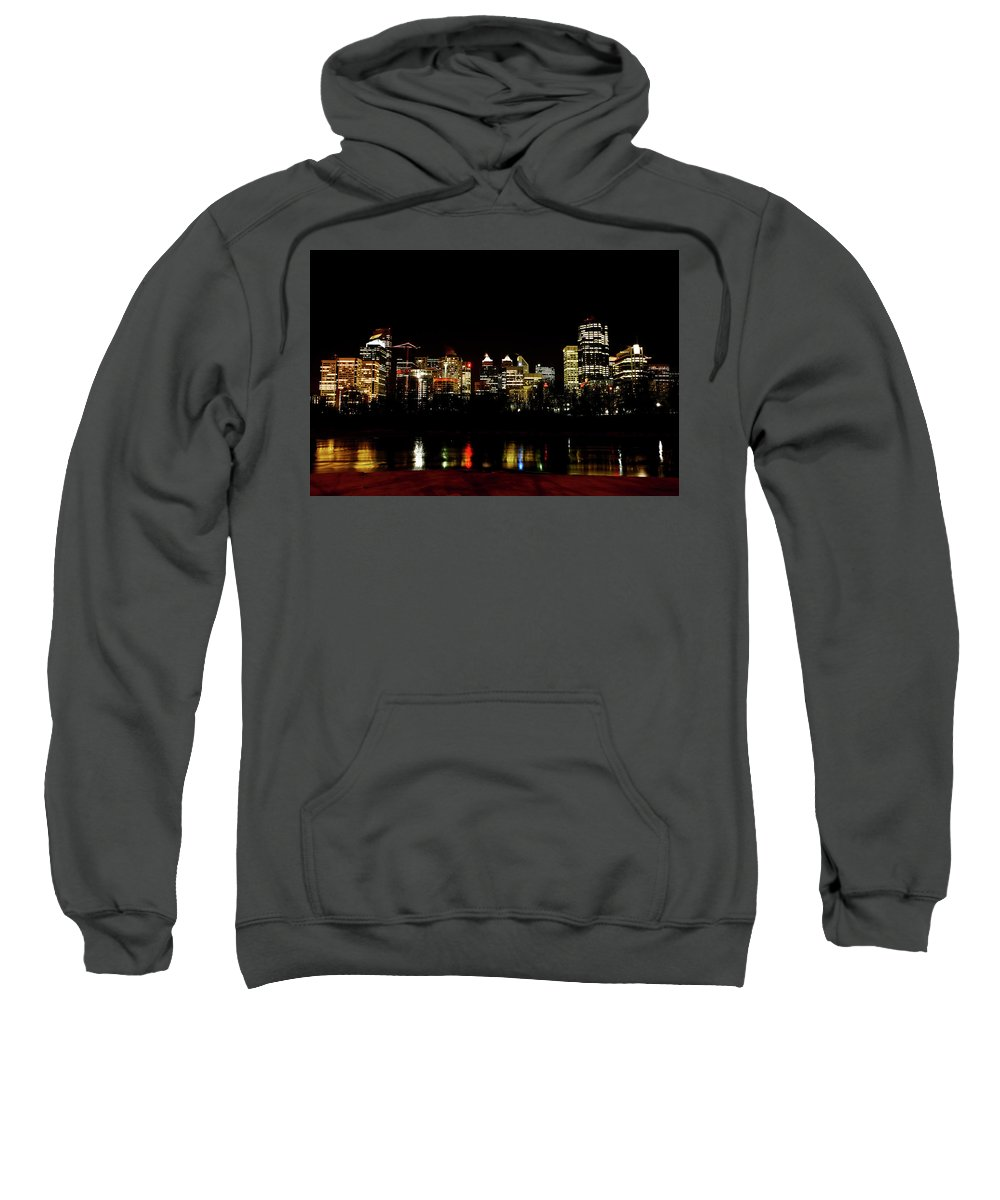 Downtown Calgary Night Lights Reflection Off Bow River Rural Alb Sweatshirt featuring the digital art Downtown Calgary At Night by Mark Duffy