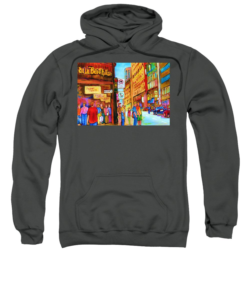 Cityscape Sweatshirt featuring the painting Downtown by Carole Spandau
