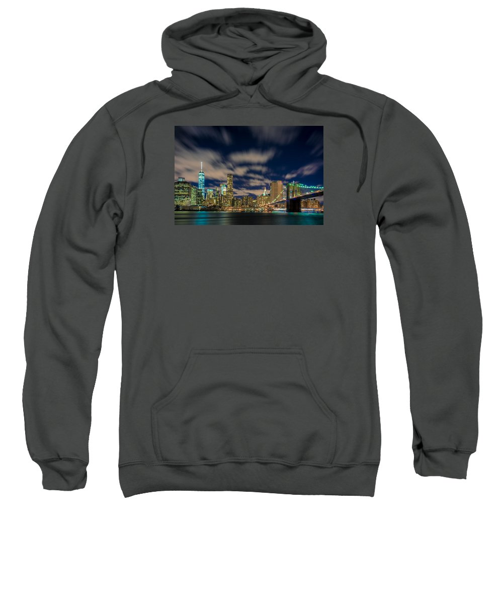 Nyc Sweatshirt featuring the photograph Downtown From Brooklyn by David Valentine