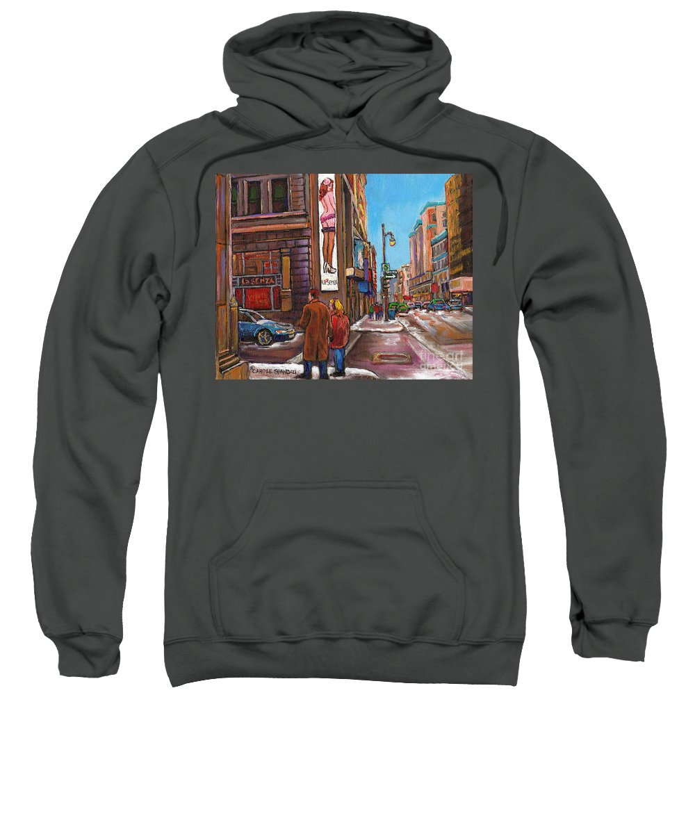 Montreal Sweatshirt featuring the painting Downtown Montreal Streetscene At La Senza by Carole Spandau