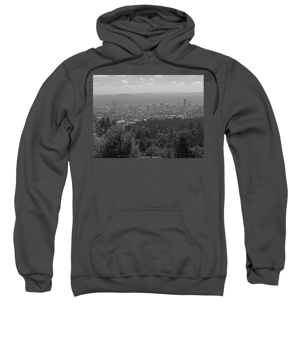 Portland Sweatshirt featuring the photograph Downtown Portland Black And White by Cityscape Photography