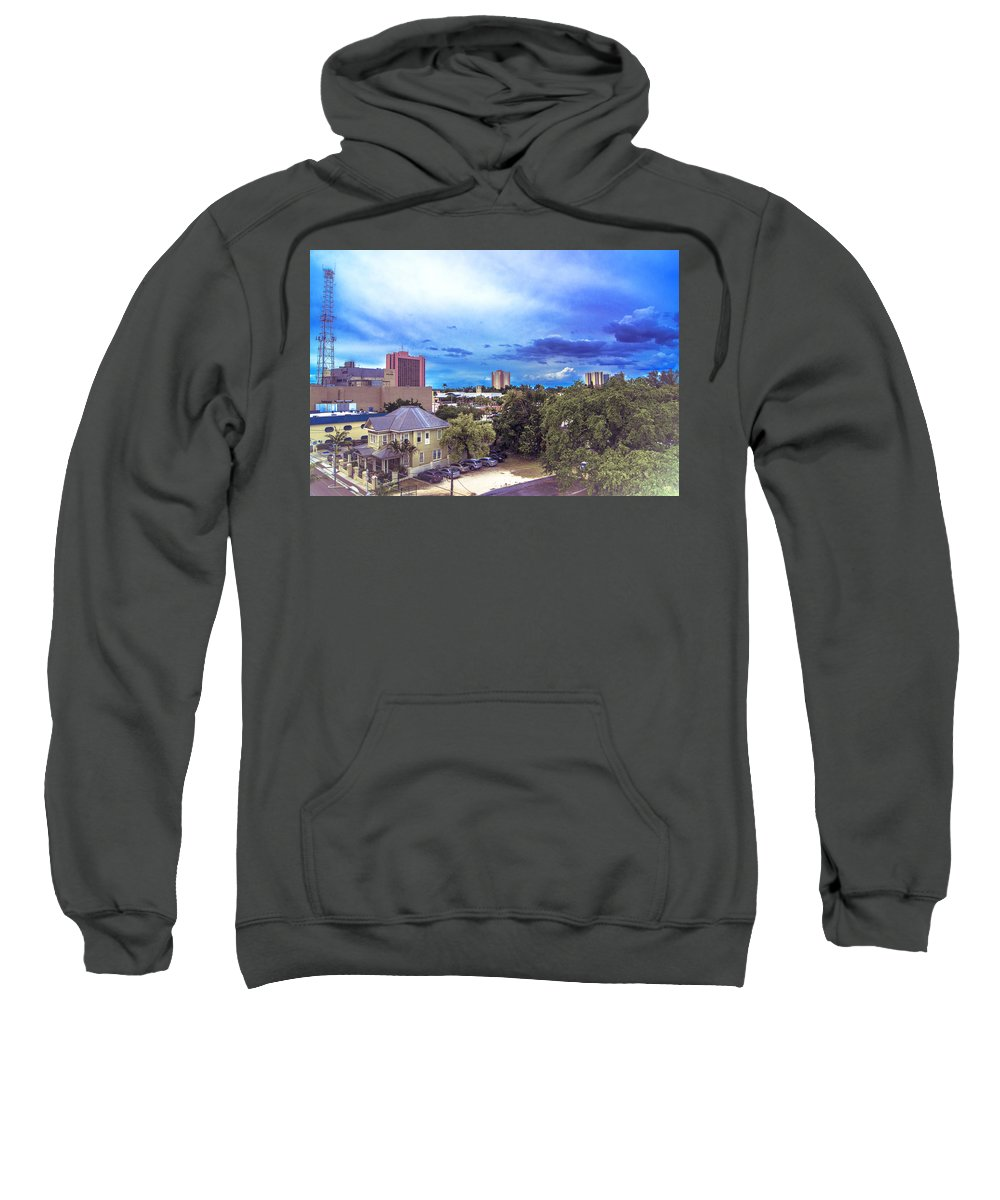 Downtown Skies Sweatshirt featuring the photograph Downtown Skies by Michael Frizzell
