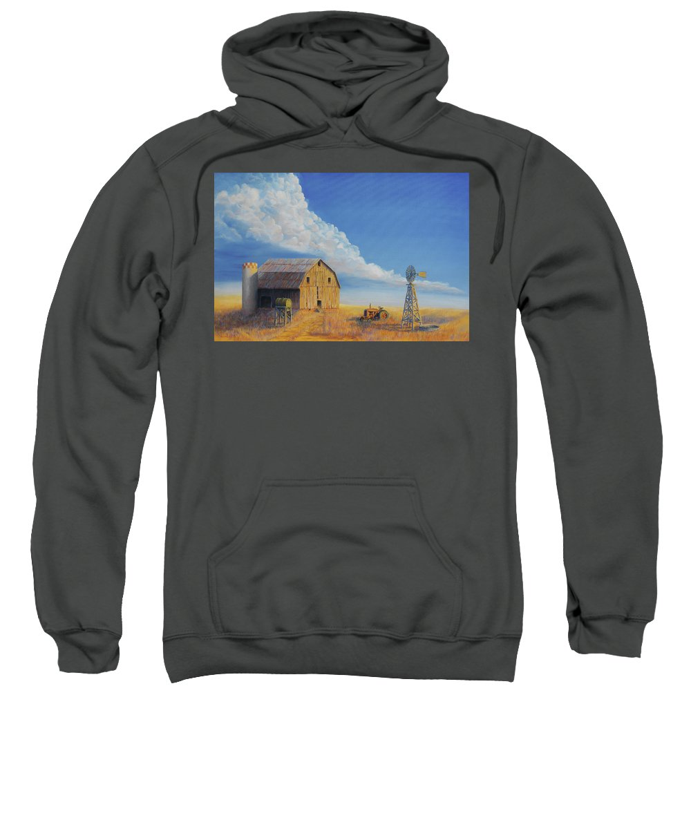Barn Sweatshirt featuring the painting Downtown Wyoming by Jerry McElroy
