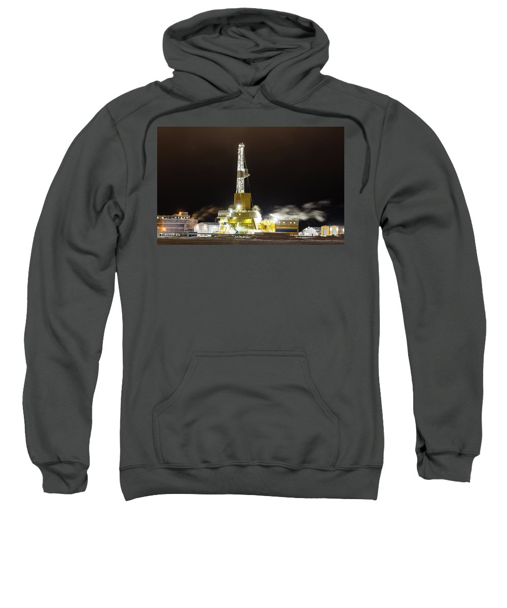 Sam Amato Photography Sweatshirt featuring the photograph Doyon Drilling Rig And Camp by Sam Amato