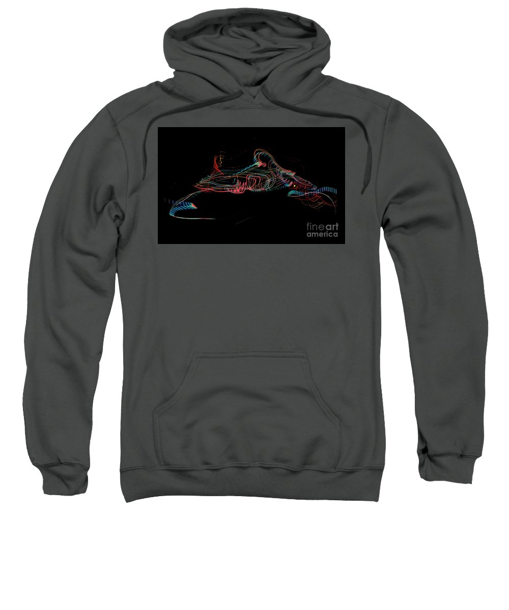 Light Painting Sweatshirt featuring the digital art Dragon by Ted Guhl