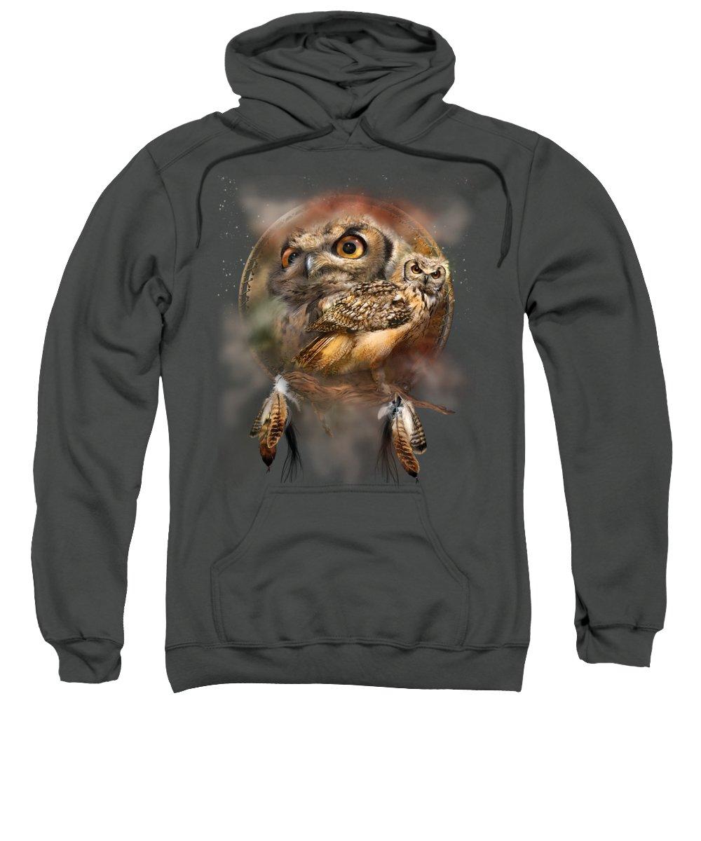 Carol Cavalaris Sweatshirt featuring the mixed media Dream Catcher - Spirit Of The Owl by Carol Cavalaris