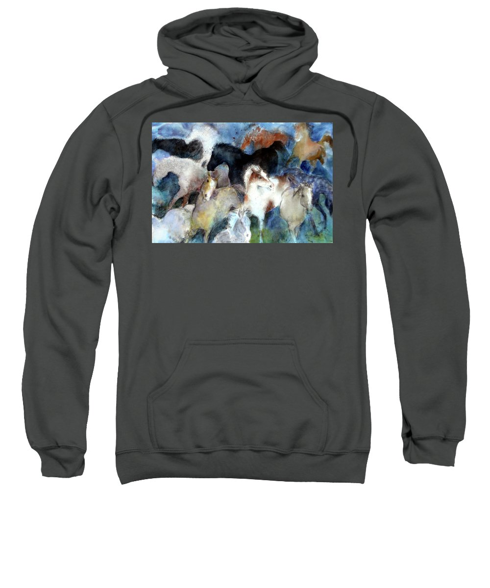 Horses Sweatshirt featuring the painting Dream Of Wild Horses by Christie Michelsen