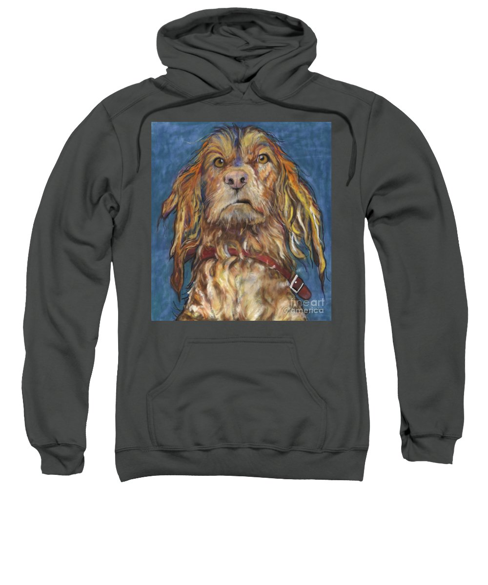 Golden Retriever Painting Sweatshirt featuring the pastel Drenched by Pat Saunders-White