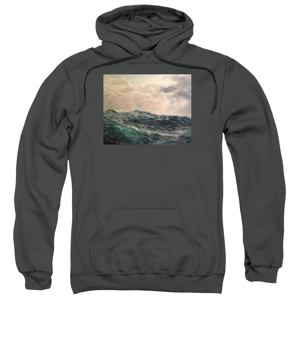 Seascape Sweatshirt featuring the painting Drift I by Stacy Brown