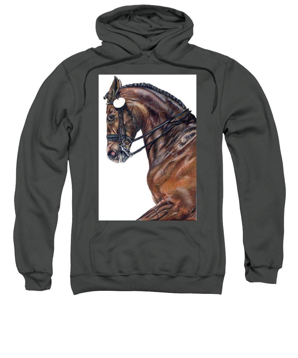 Horse Sweatshirt featuring the drawing Driven by Kristen Wesch