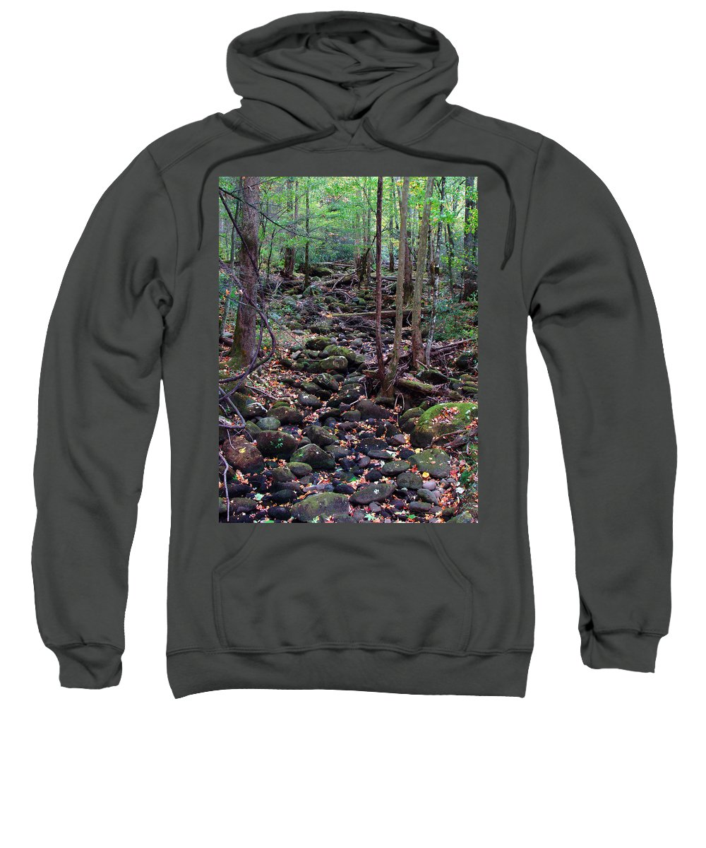 River Sweatshirt featuring the photograph Dry River Bed- Autumn by Nancy Mueller