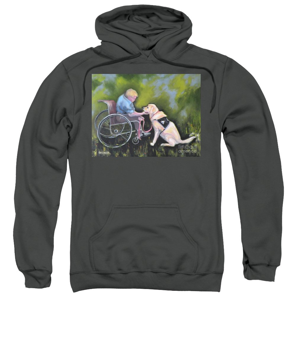 Dog Sweatshirt featuring the painting Duet by Susan A Becker