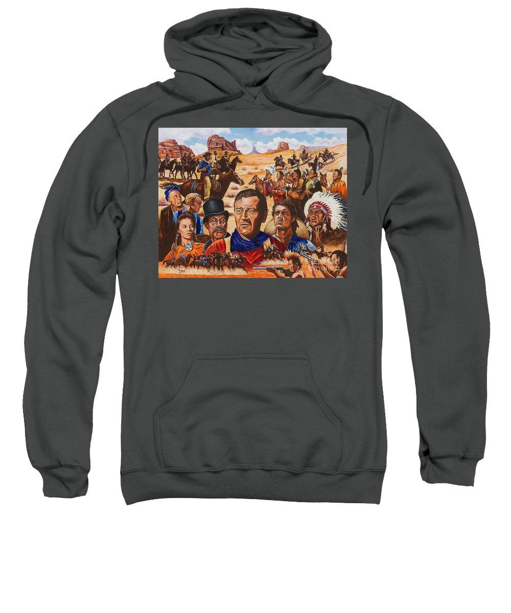 Duke Sweatshirt featuring the painting Duke by Michael Frank