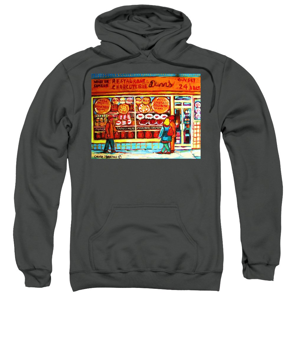Montreal Sweatshirt featuring the painting Dunn's Treats And Sweets by Carole Spandau