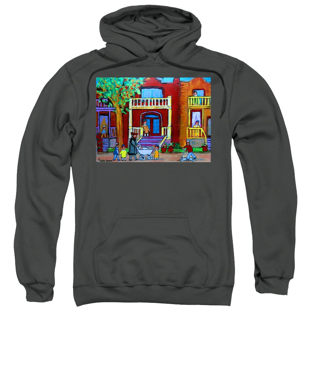 Judaica Sweatshirt featuring the painting Durocher Street Montreal by Carole Spandau