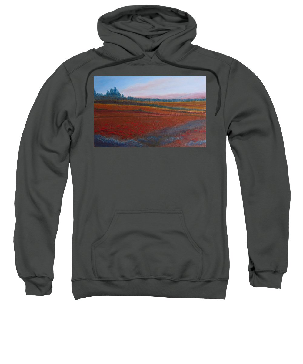 Dusk Sweatshirt featuring the painting Dusk Falls On The Pumice Field by Jenny Armitage