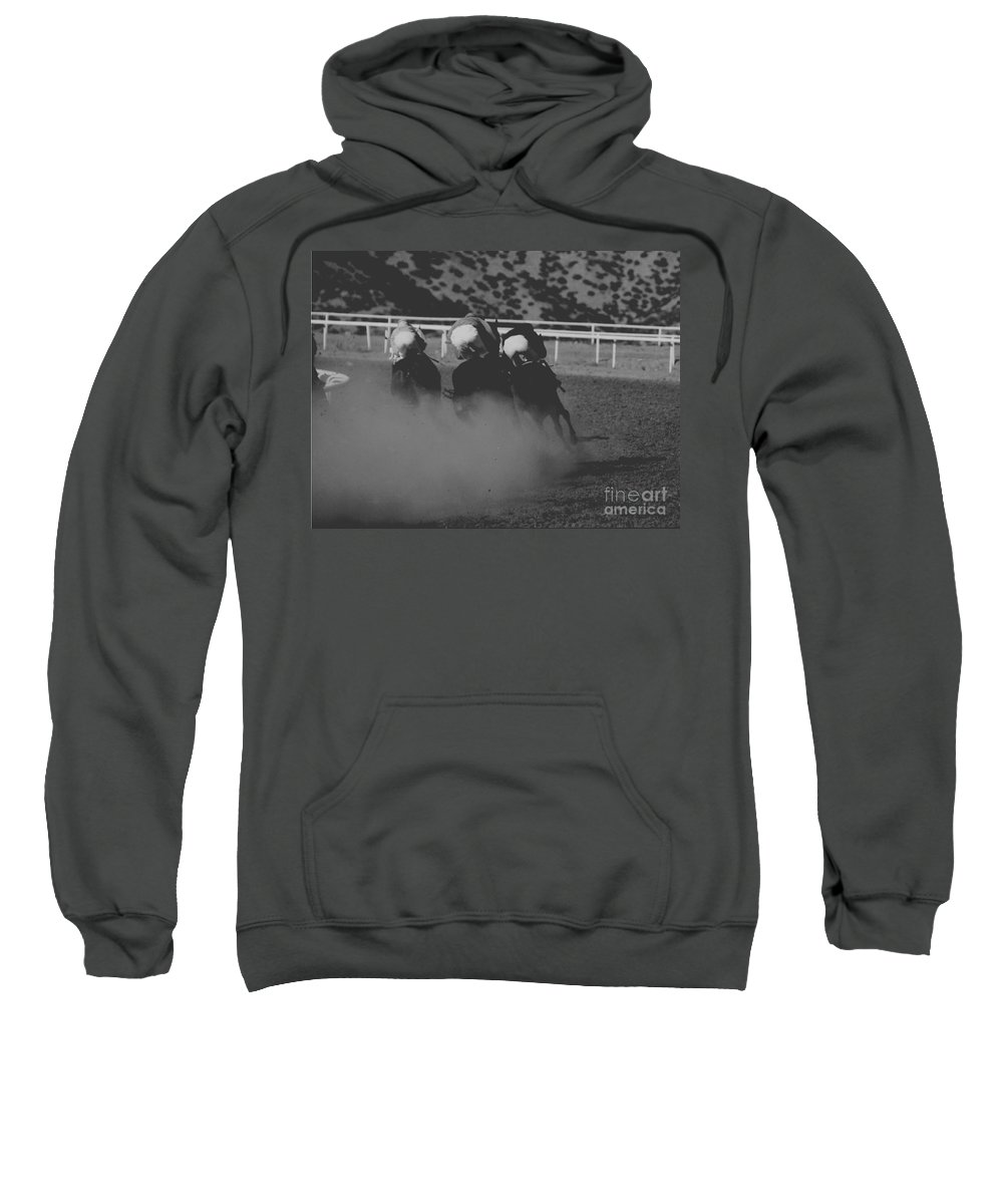Horse Sweatshirt featuring the photograph Dust and Butts by Kathy McClure