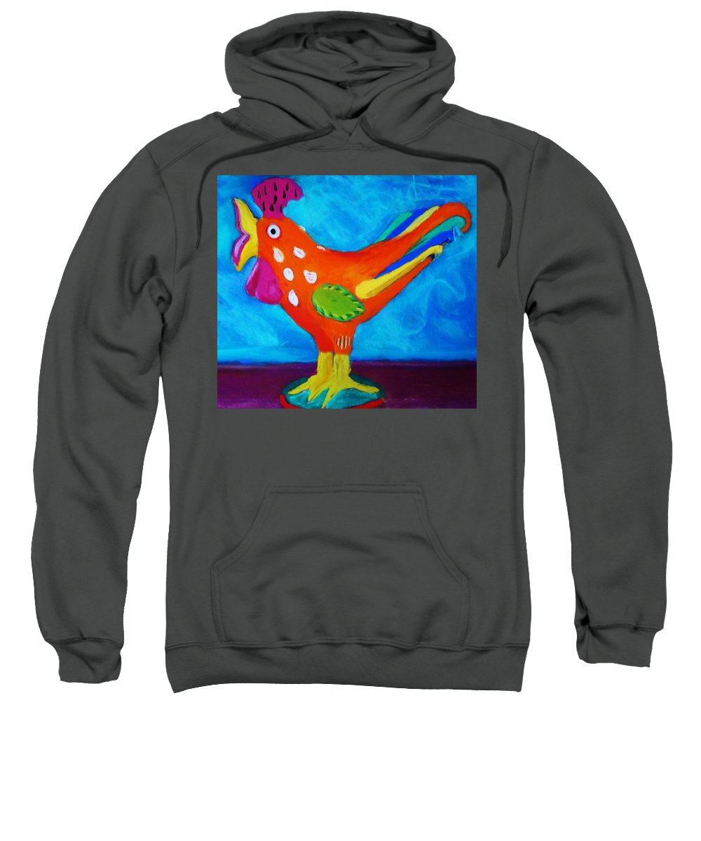 Bird Sweatshirt featuring the pastel Dusty's Chick by Melinda Etzold