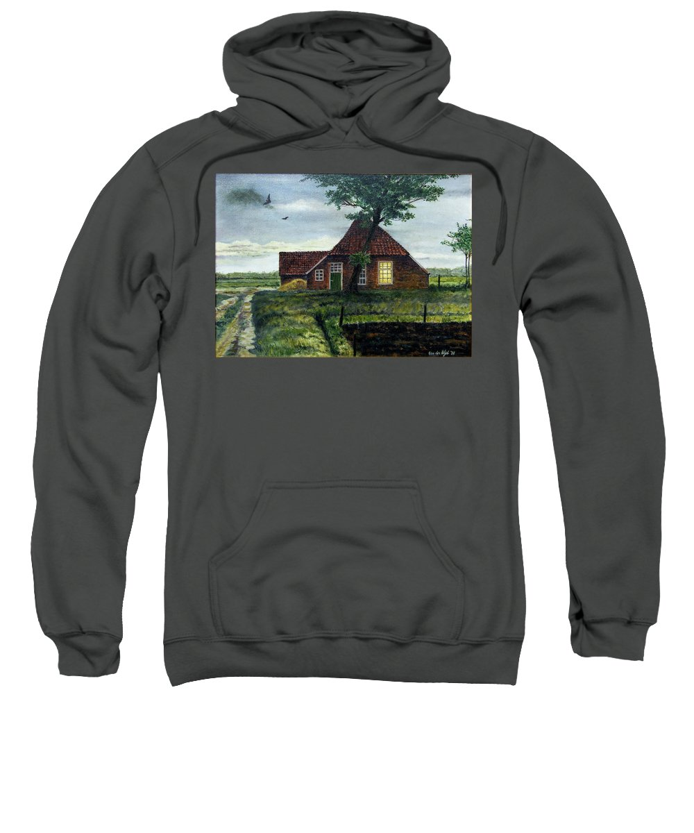 Farm Sweatshirt featuring the painting Dutch Farm At Dusk by Arie Van der Wijst