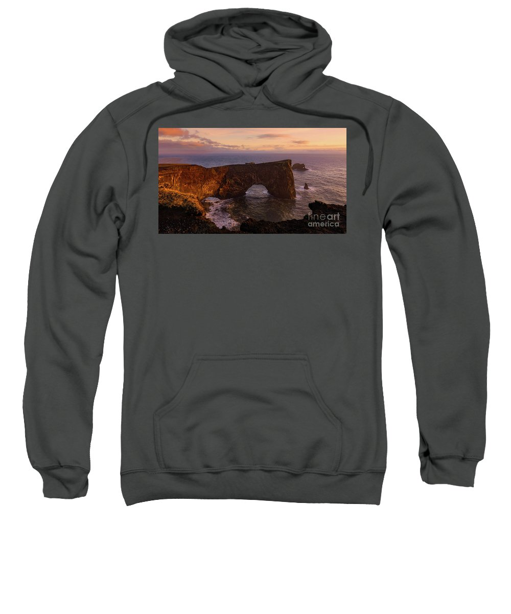 Arch Sweatshirt featuring the photograph Dyrholaey Arch by Jerry Fornarotto