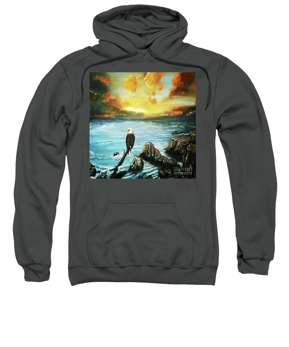 Eagle Sweatshirt featuring the painting Eagle Rock Lake by Ricky Baker