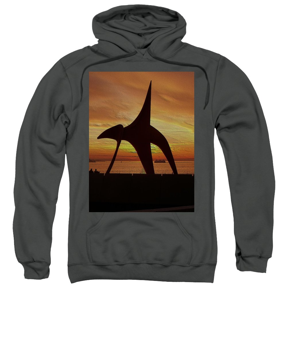 Seattle Sweatshirt featuring the digital art Eagle Sunset Over Elliott Bay by Tim Allen