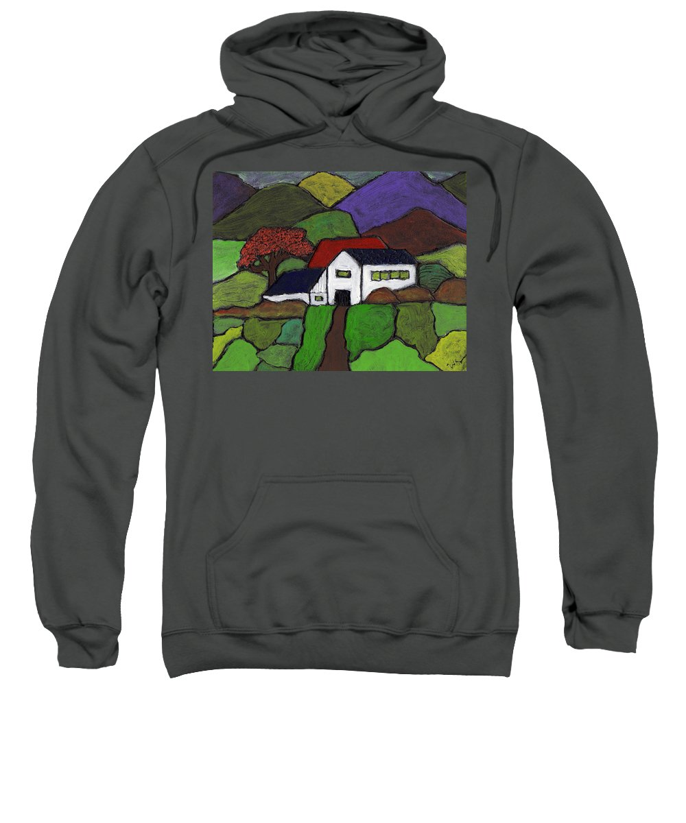 Farm Sweatshirt featuring the painting Early Autumn by Wayne Potrafka