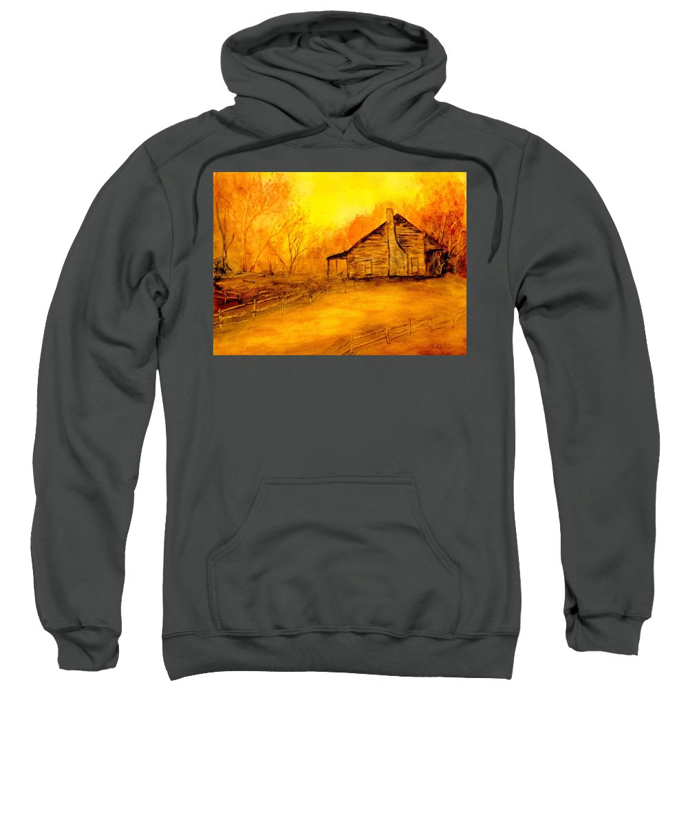 Cabin Sweatshirt featuring the painting Early Kentucky Times by Gail Kirtz