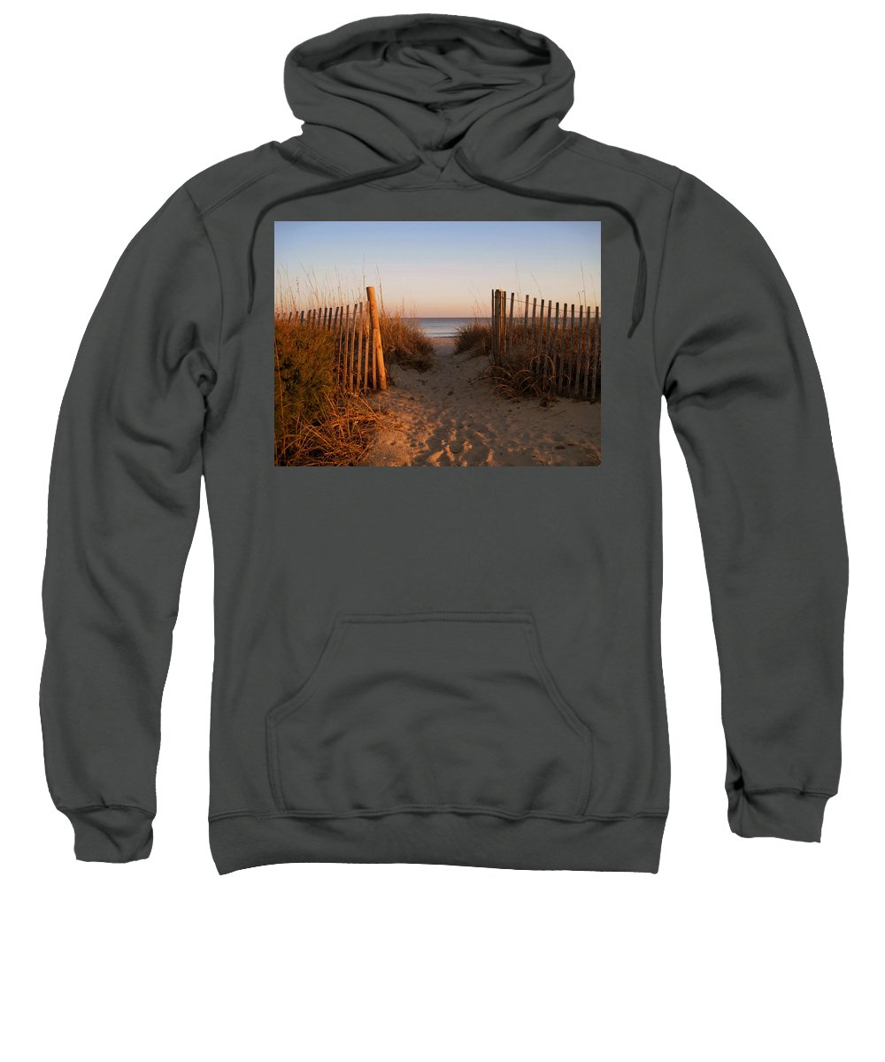 Beach Scene Sweatshirt featuring the photograph Early Morning At Myrtle Beach Sc by Susanne Van Hulst