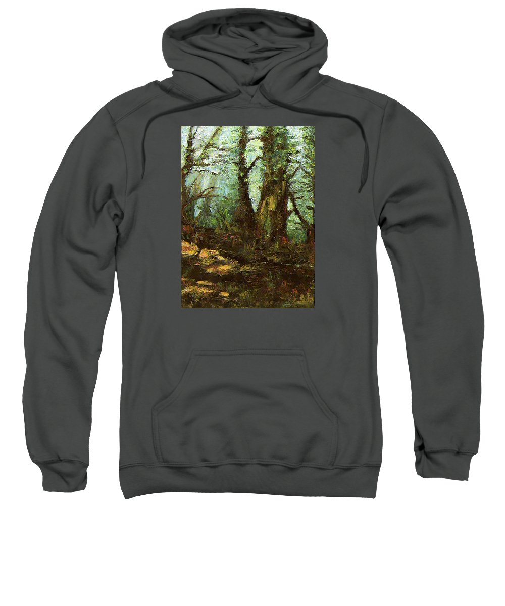 Landscape Sweatshirt featuring the painting Early Morning In The Forest by Ioulia Sotiriou