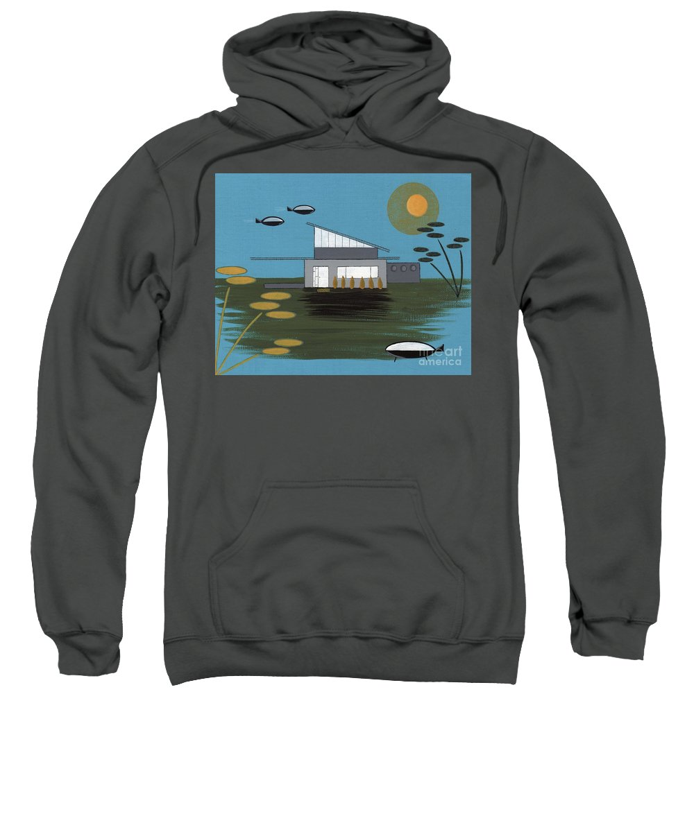 Sweatshirt featuring the digital art Early Painting Futuristic House by Donna Mibus