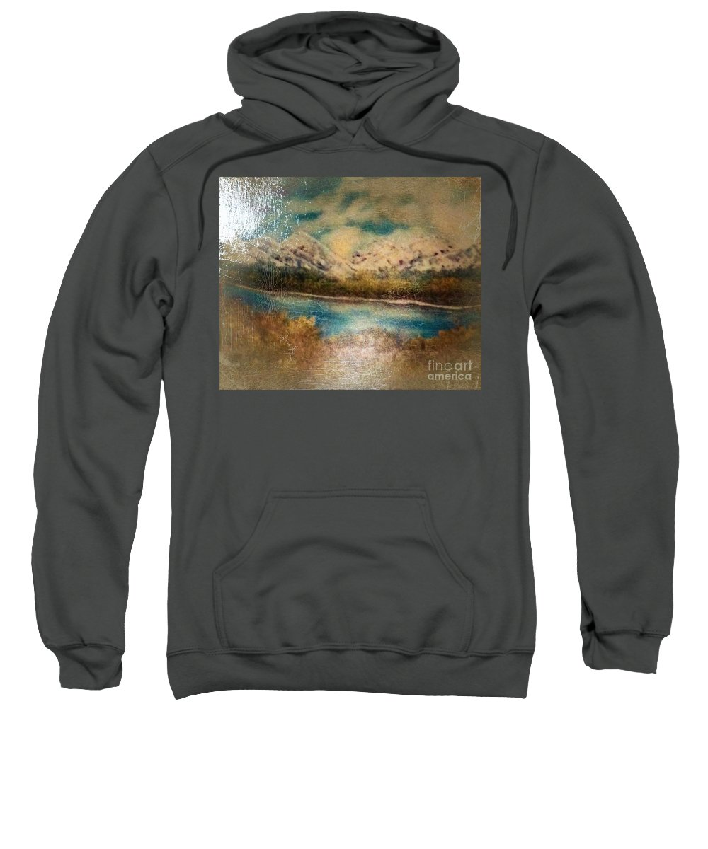 Early Sweatshirt featuring the painting Early Winter Mountain Range by Debra Lynch