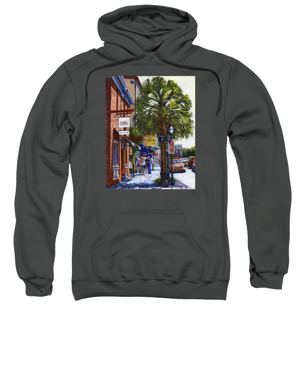 East Bay St. Sweatshirt featuring the painting East Bay St. Charleston Sc by Thomas Michael Meddaugh