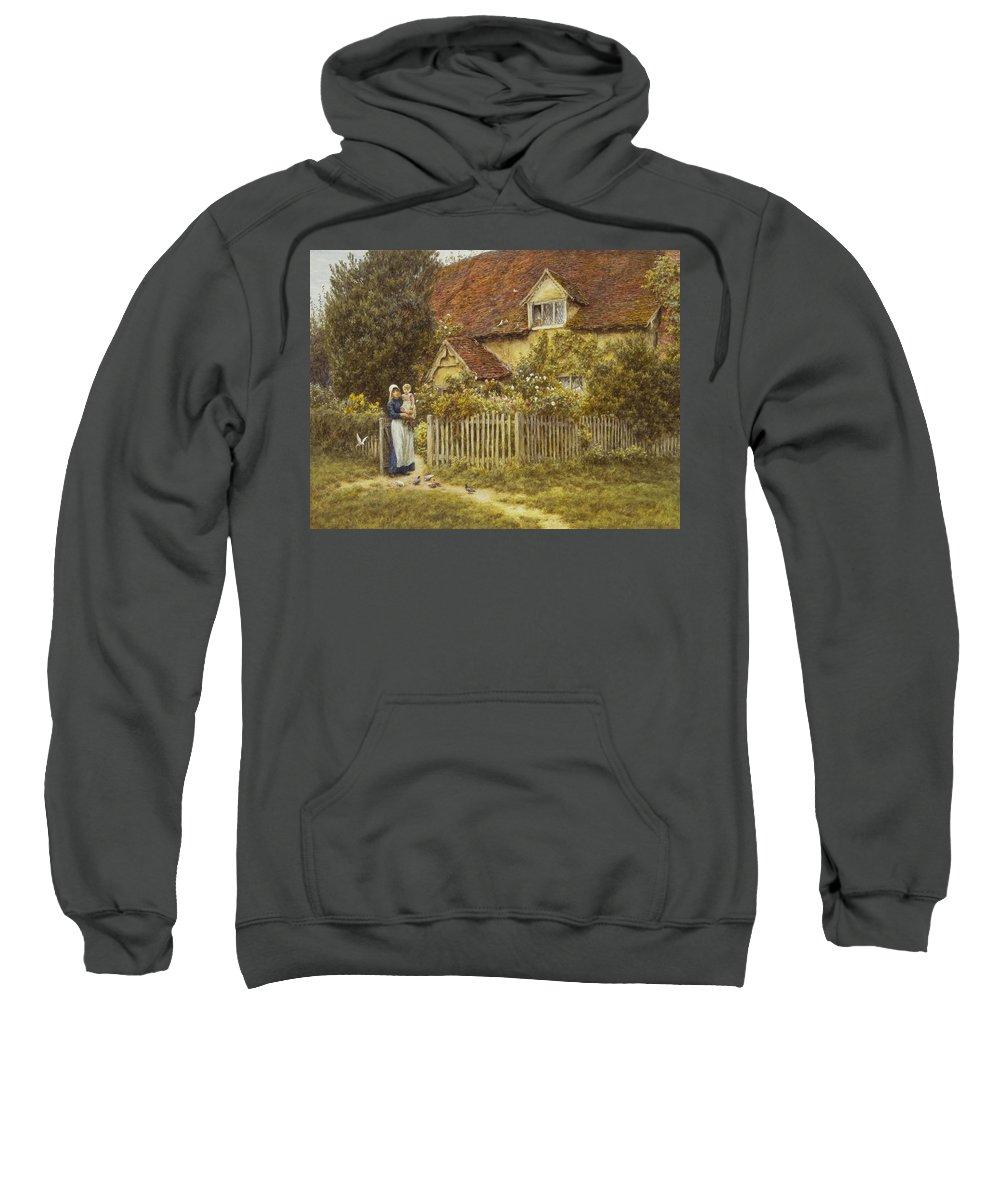 East End Farm Sweatshirt featuring the painting East End Farm Moss Lane Pinner by Helen Allingham