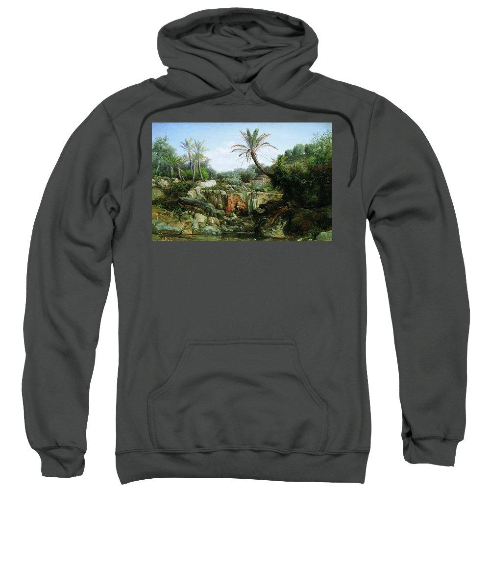 Tree Sweatshirt featuring the digital art East Landscape Henryk Semiradsky by Eloisa Mannion