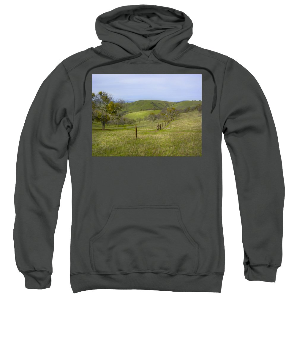 Landscape Sweatshirt featuring the photograph East Ridge Trail Barbed Wire by Karen W Meyer